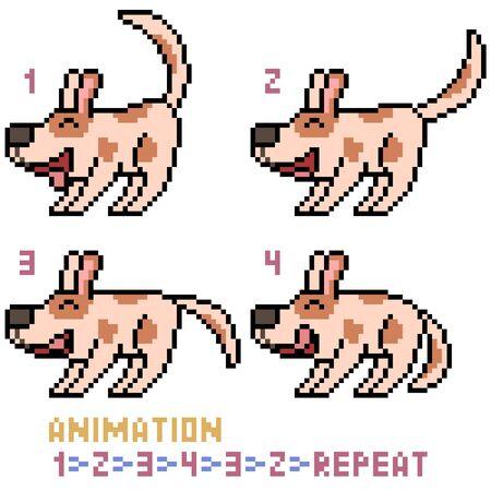 vector pixel art dog animation frame isolated Illustration
