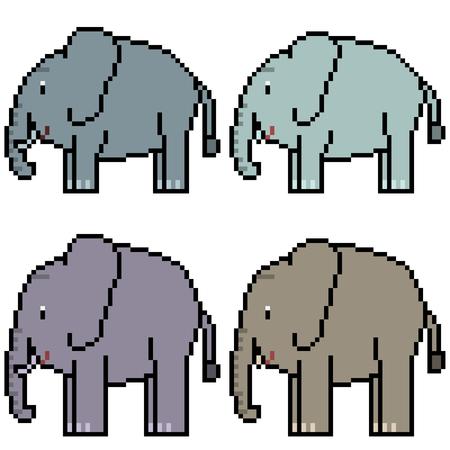 vector pixel art set elephant isolated