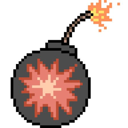 vector pixel art grenade isolate Illustration