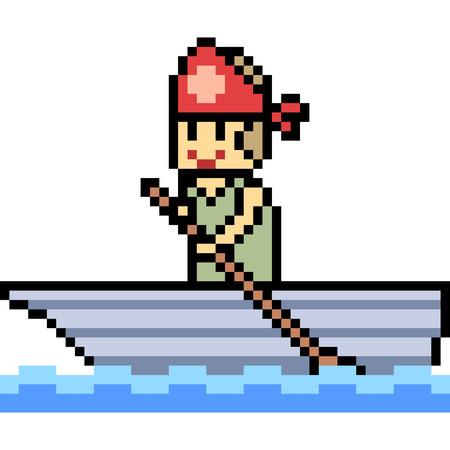 paddler: vector pixel art paddler isolated Illustration