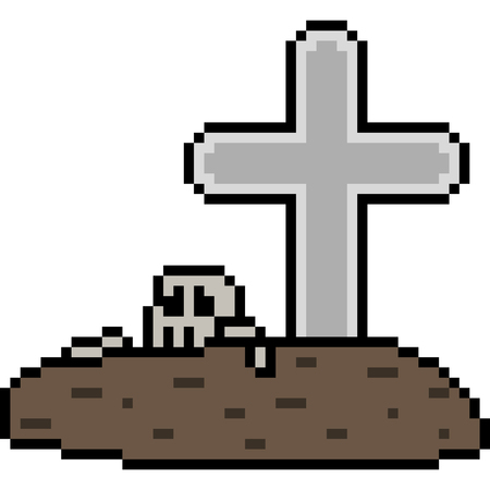 vector pixel art grave isolated