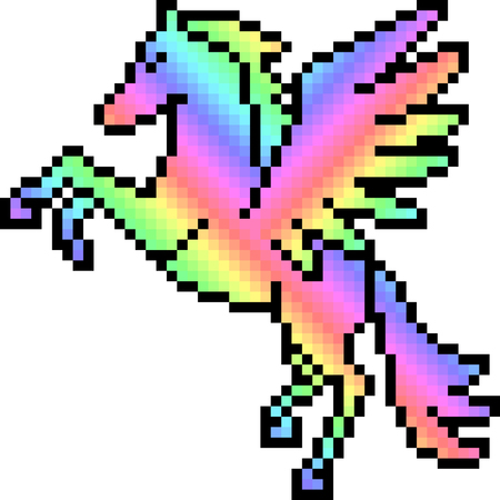 Pixel art pegasus isolated Illustration