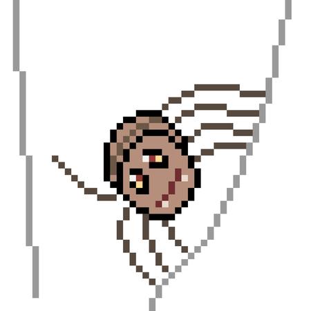 Vector píxeles arte araña aislado