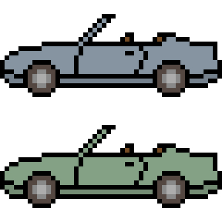 vector pixel art car isolated 矢量图像