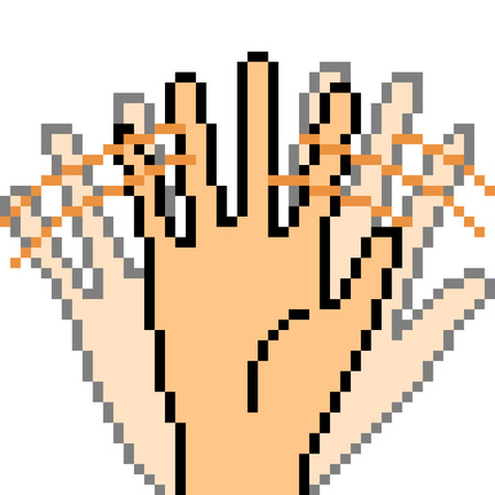 vector pixel art hand sign bye isolated Illustration