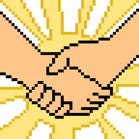 vector pixel art hand sign cooperation isolated Illustration