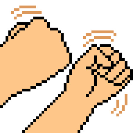 vector pixel art hand sign fist fight isolated