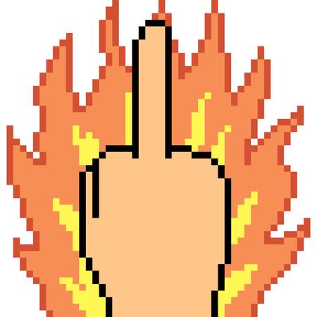 vector pixel art handteken middelste vinger geïsoleerd