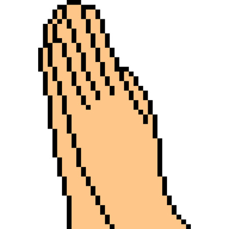 vector pixel art hand sign greeting isolated