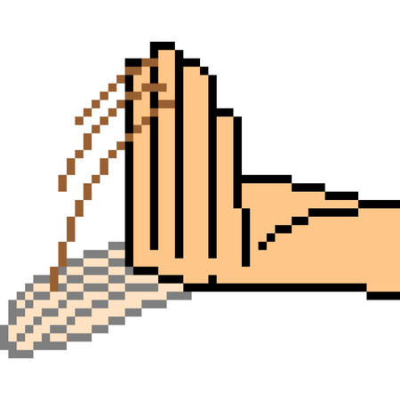 vector pixel art hand sign taunt isolated