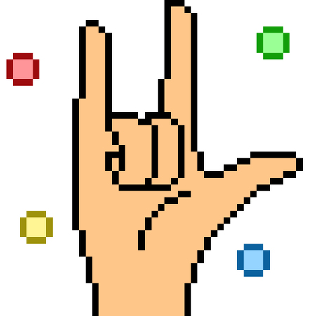 vector pixel art hand sign rock isolated