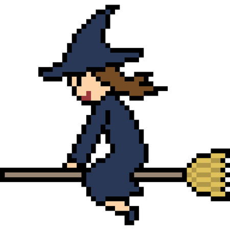 vector pixel art witch fly isolated 矢量图像