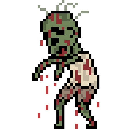 vector pixel art zombie isolated