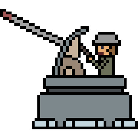vector pixel art soldier isolated