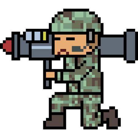 vector pixel art bazooka army isolated