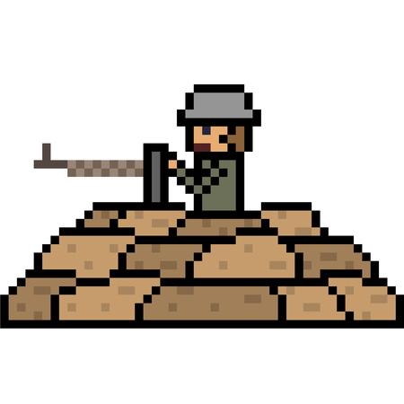 vector pixel art soldier isolated