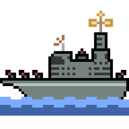 vector pixel art warship isolated