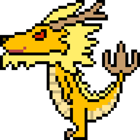 vector pixel art dragon isolated Çizim