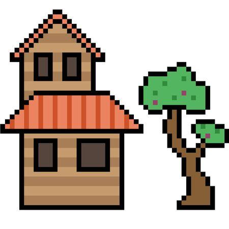 vector pixel art wood house isolated