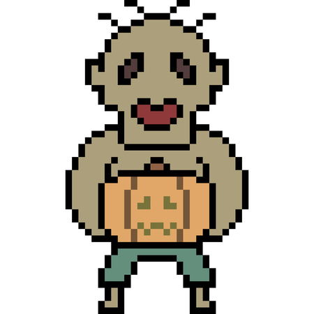 Vector pixel art zombie, pumpkin, isolated