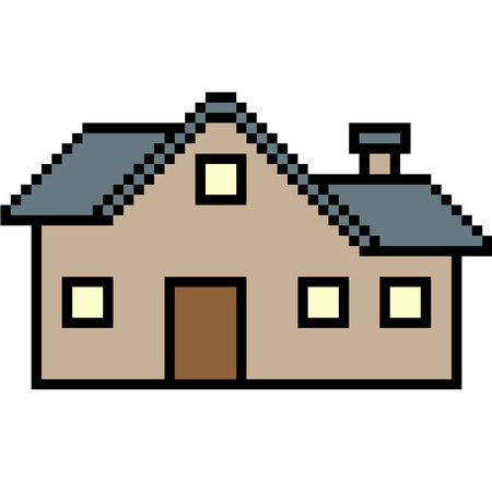 vector pixel art house isolated Ilustrace