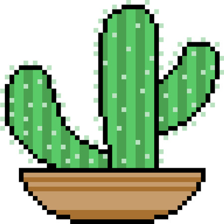 Vector pixel art, cactus in a pot, isolated Иллюстрация