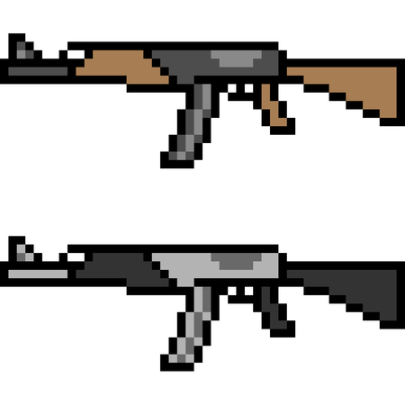 A vector pixel art assault rifle isolated on white background. Ilustração