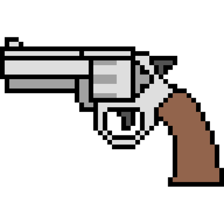 A vector pixel art gun magnum isolated on white background.