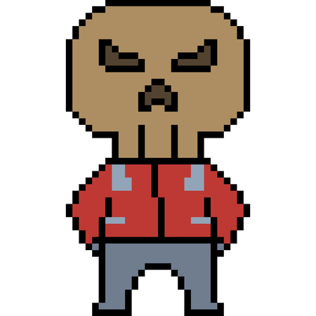Pixel art man with skull head illustration. 向量圖像