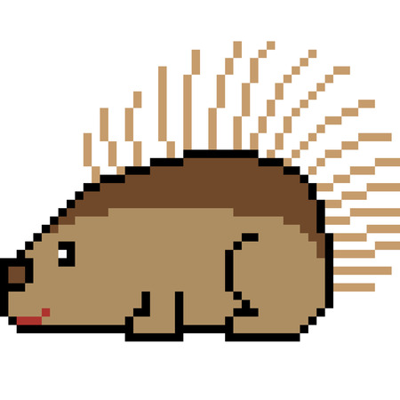 Pixel art porcupine illustration. Иллюстрация