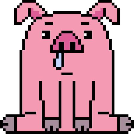 Pixel art pig illustration.