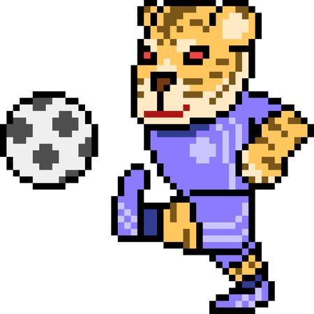 vector pixel art tiger football isolated