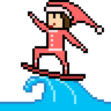 Pixel art illustration of surfing santa. Illustration
