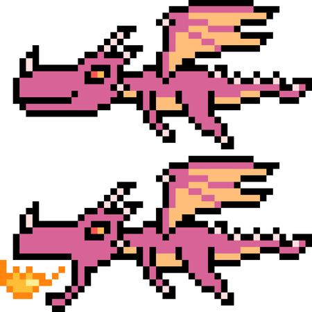 Pixel art illustration of flying dragons.