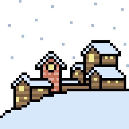 Pixel art illustration of rural village on winter. Ilustrace