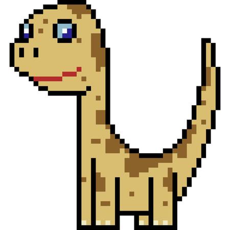 Pixel art illustration of a brachiosaurus dinosaur.