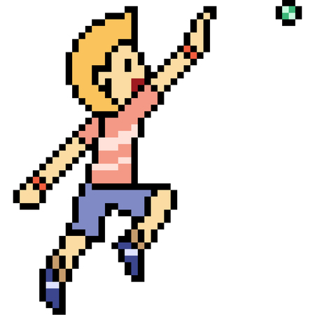 vector pixel art man play ball isolated 向量圖像