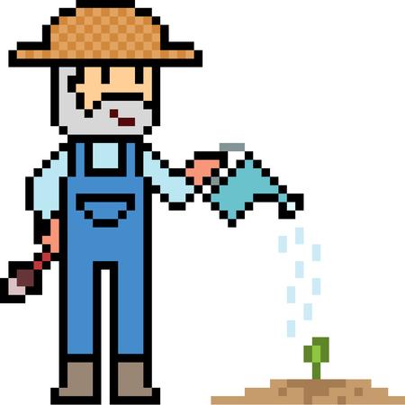 plant stand: vector pixel art gardener isolated