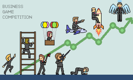 vector pixel art business game scene isolated