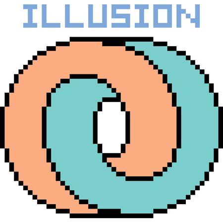 Vector pixel art illusion isolated