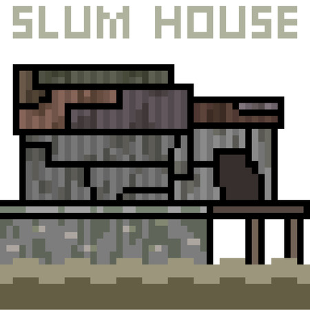 Vector pixel art slum house on white background, vector illustration. Stock fotó - 89636121