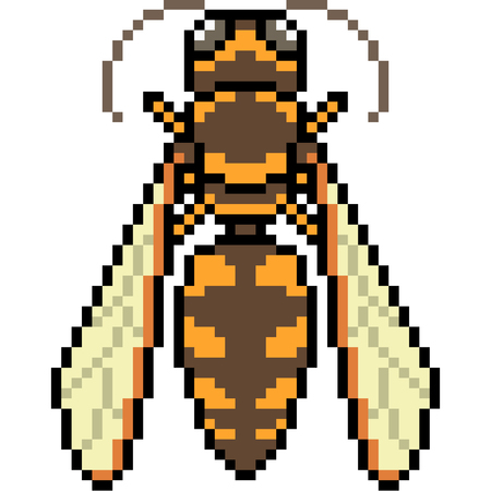Vector pixel art hornet isolated Ilustracja