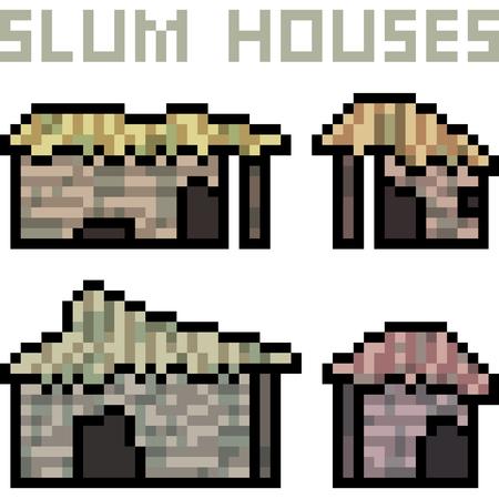 Vector pixel art slum house on white background, vector illustration.