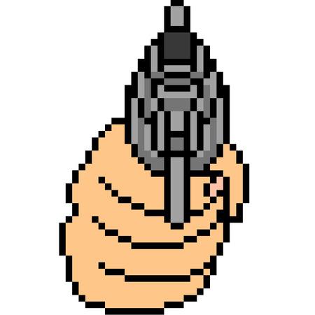 Vector pixel art gun shot isolated