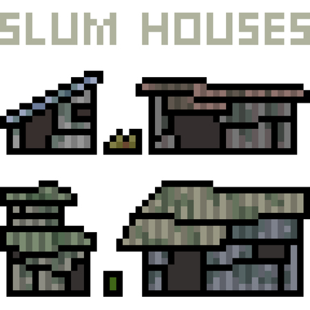 vector pixel art slum house isolated Stock fotó - 89624255