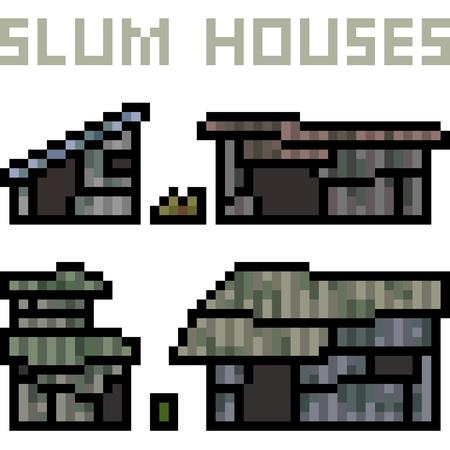vector pixel kunst sloppenwijk huis geïsoleerd Stock Illustratie