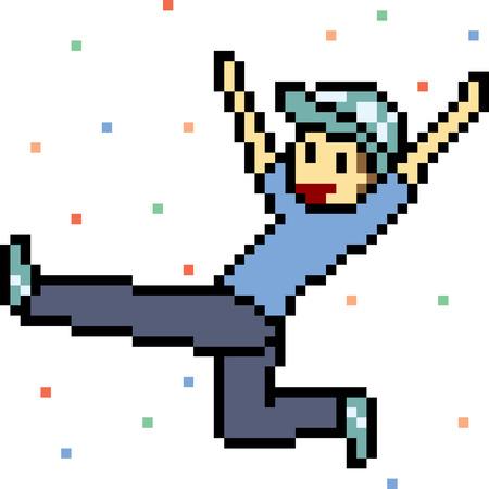 vector pixel art happy jump isolated Illustration