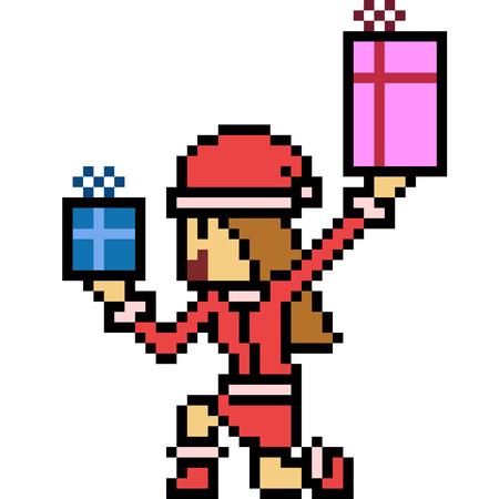 Vecteur pixel art santa girl isolé Banque d'images - 90234879