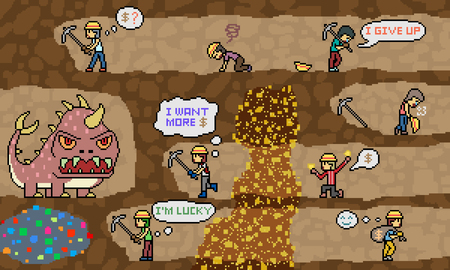 vector pixel art gold mine dig scene Illustration