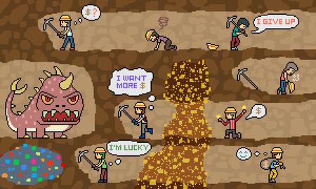 Vecteur pixel art mine d'or creuser scène Banque d'images - 90246500